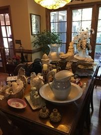 French farm table, chairs, antiques and interior decor items