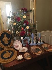 Lots of antique artwork at this sale.  Check out these two rare blue lamps with figurines....they're really cool!