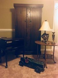 Primitive antique cabinet with shelves, antique oak table, tv stand, vintage race car