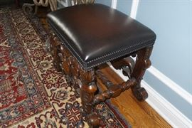 #15   Hand Carved.                                                     Piano Bench Leather top.     $500                          Hand woven Persian Rug 10 x 14  $1500.