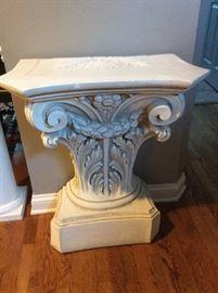 #17   Entry/ foyer Wall Italian Cast Column Table  $400
