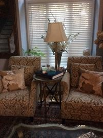 #7  Pair of RESTORATION HARDWARE                            Chairs $450.ea                                                                        Maitland Smith Marble Top and brass legs  $400.