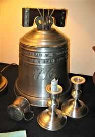 Large pewter Liberty bell, Candlesticks, Baby Cup, etc.