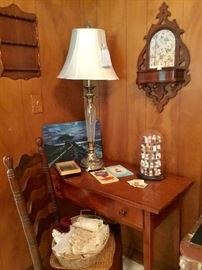Desk, chair, lamp, thimbles, hanging mirrored antique