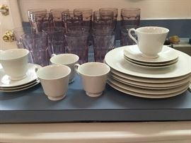 White China and lavender glassware