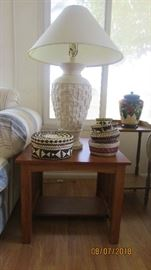 Mission style end tables and lamps
