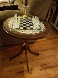 End table and chess set