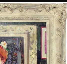 Pierced picture frame and framed with same frame in the painting