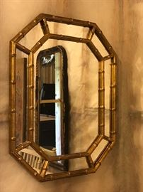 Vintage octagon shape gold guilted mirror