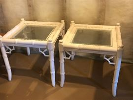 Vintage pair of bamboo designed side glass top tables.