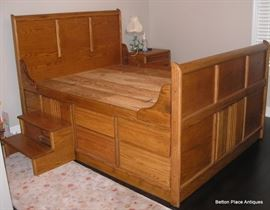 Large Oak Captains Bed, this has great storage, has the steps with it, easy to move as it all breaks down, plenty of storage below. This is a BEAUTY !!