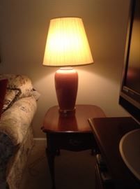Nice cherry wood in table and lamp