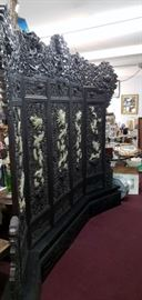Antique blacklaquer and Jade footbed screen
