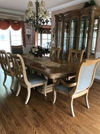Bernhardt Dining Room Table (opens to (118 inches). China Cabinet