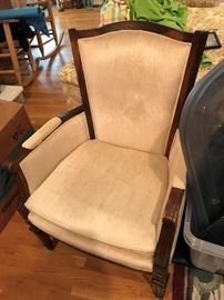 Upholstered, Wood Trimmed Chair $ 70.00