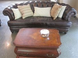 Randall Allan Washington Chesterfield Sofa, in wipe off leather.