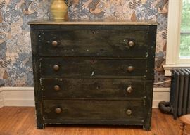 Black Crackle Finish Chest of Drawers