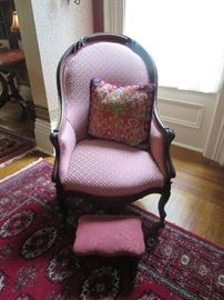 Victorian Side Chair and small Foot Stool