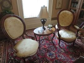 Mr and Mrs Victorian Chairs, Inlaid Coffee Table