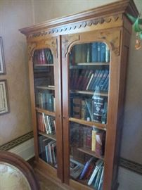 Victorian Walnut and Burl Bookcase