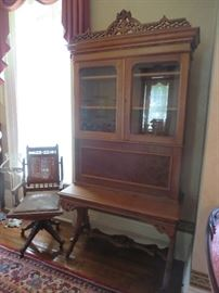 Unusual Victorian Walnut Drop Front Secretary, Victorian Office Chair