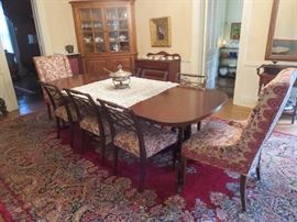 Mahogany Dining Room Table 6 Side Chairs, 2 Host Chairs