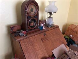 Antique clock, antique desk
