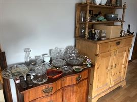 Antique dresser with mirror, antique hutch, items on them for sale. More pictures coming of furniture