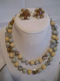 """""""SMALLS"""" Area:   This vintage VOGUE double strand necklace has a pair of matching clip earrings.  It is sold as a SET."""