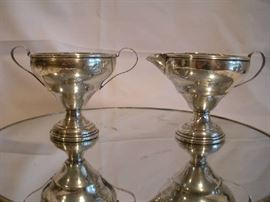 """""""SMALLS"""" Area:  A set of weighted STERLING silver cream and sugar is simple and elegant.  (Note:  All gold and sterling have been removed from the premises and will be returned Saturday morning.)"""