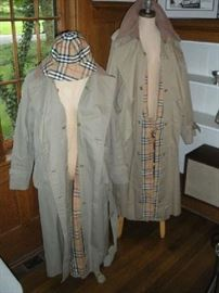 """""""Smalls"""" Area:  The BURBERRY coat on the left is a woman's size 10-12.  The men's coat on the right is about a size 42-44.   The hat fits just about anybody."""