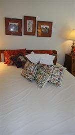 Queen Bed, hand hooked pillows, folk art