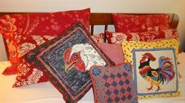 Hand hooked folk art Rooster/Chicken pillows