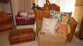 Baskets, Hand made folk art dolls