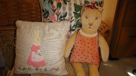 Folk Art Bunny, Folk Art applique pillows
