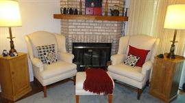 Custom Covered Cream arm Chairs w /ottoman, Pine cabinets, Stiffel lamps
