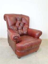 Burgundy Leather Traditional Style Armchair