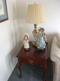 G. Armani Doll, Vintage Porcelain doll and Stiffel lamp
