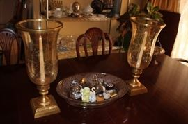 Decorative Hurricane Lamps, Bowl and Assorted Bric-A-Brac