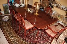Solid Wood Dining Room Table with Eight Chairs in Great Condition