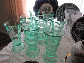 Vaseline glass sundae cups