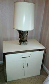 One of 2 Nightstands & 2 Wonderful Metal Oriental Lamps