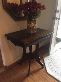 Antique Side Table on original casters