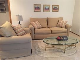 Upholstered Sofa & matching Loveseat / Brass & Beveled glass coffee table from Italy