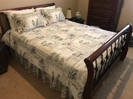 Queen bed with mattress, headboard and footboard