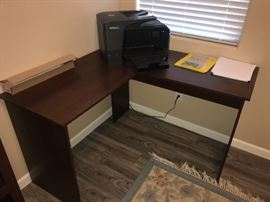 Corner desk and printer