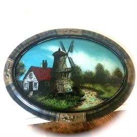 Reverse Painted on Convex Glass Original