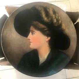 Hand painted portrait on ceramic. Large ca. 1900