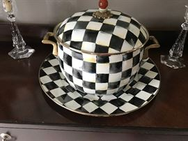 MacKenzie Childs Courtly Check enamelware large stew pot