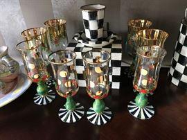 MacKenzie Childs Heirloom toasting flutes, recipe box, tumbler